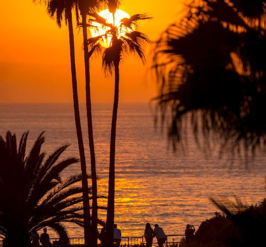 Solen går ned i Stillehavet